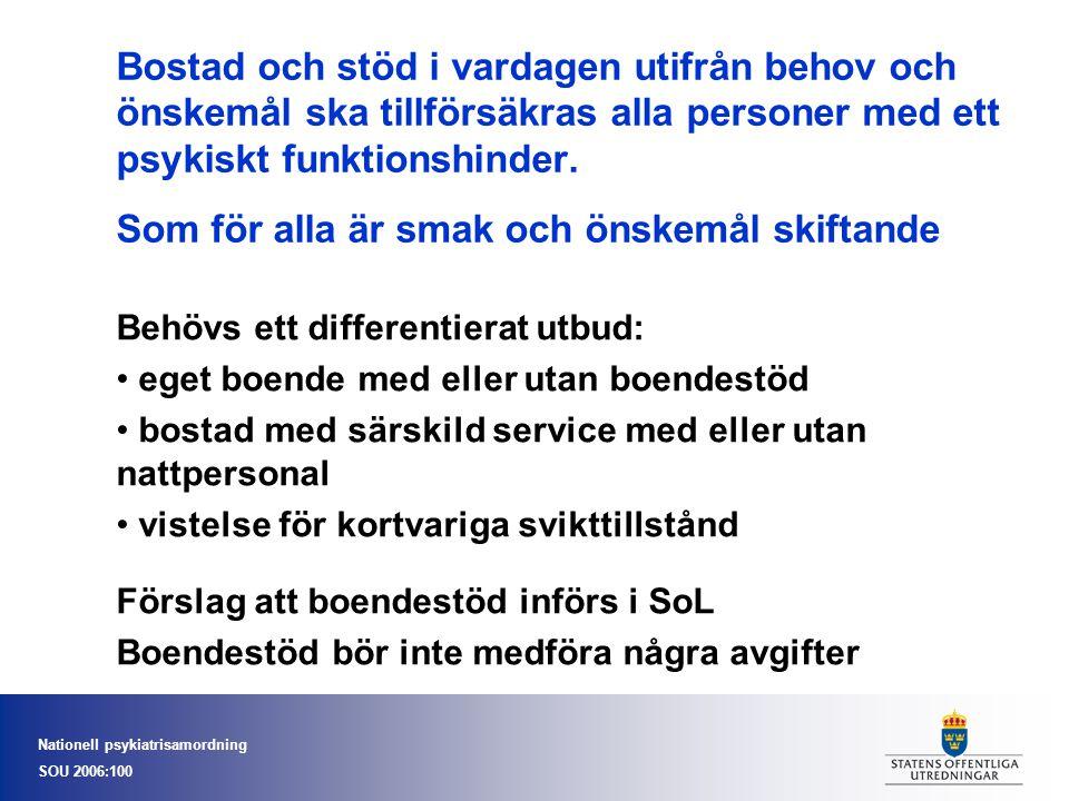 Nationell psykiatrisamordning SOU 2006:100 Bostad och stöd i vardagen utifrån behov och önskemål ska tillförsäkras alla personer med ett psykiskt funktionshinder.