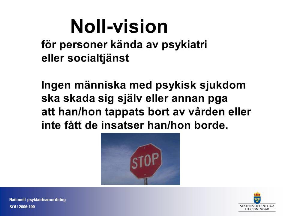Nationell psykiatrisamordning SOU 2006:100 Noll-vision för personer kända av psykiatri eller socialtjänst Ingen människa med psykisk sjukdom ska skada sig själv eller annan pga att han/hon tappats bort av vården eller inte fått de insatser han/hon borde.