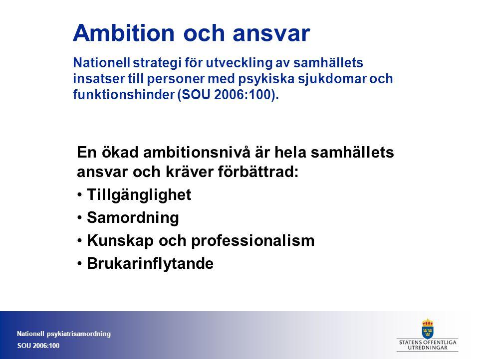 Nationell psykiatrisamordning SOU 2006:100 Kommunal verksamhet K Kommunal- verksamhet Landstings- verksamhet Kommun- politiker Landstings politiker