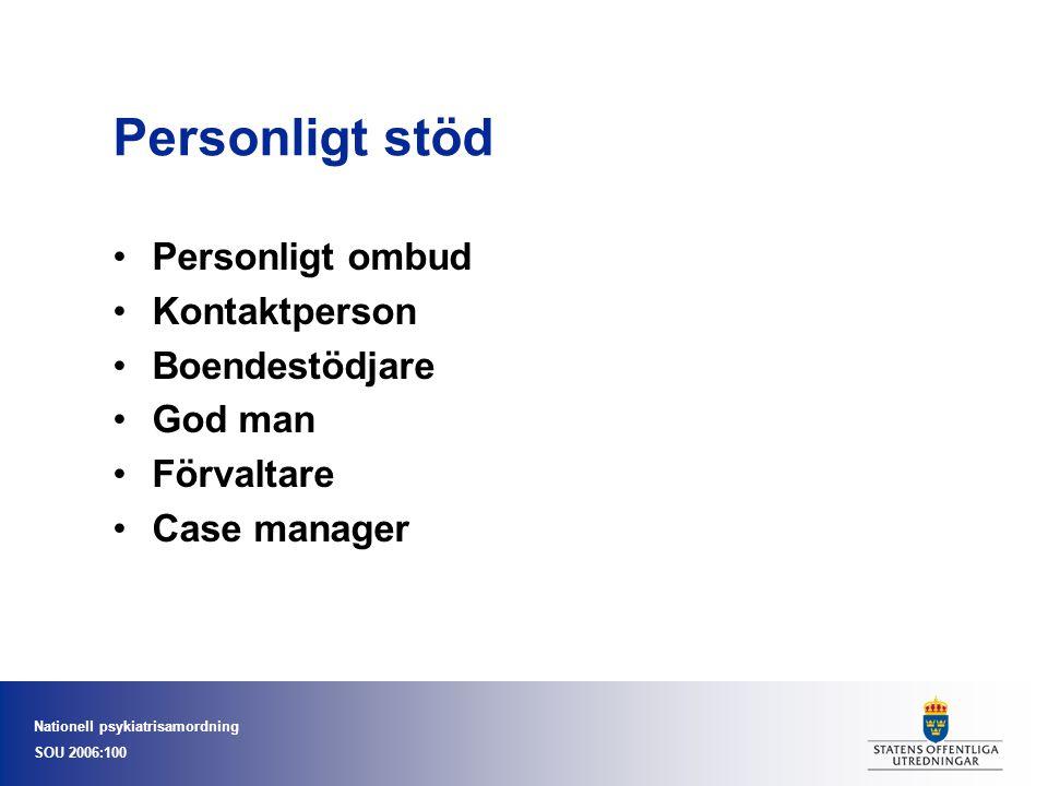 Nationell psykiatrisamordning SOU 2006:100 Personligt stöd •Personligt ombud •Kontaktperson •Boendestödjare •God man •Förvaltare •Case manager