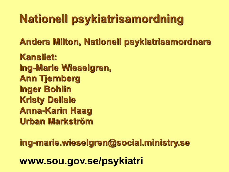 Nationell psykiatrisamordning Anders Milton, Nationell psykiatrisamordnare Kansliet: Ing-Marie Wieselgren, Ann Tjernberg Inger Bohlin Kristy Delisle A