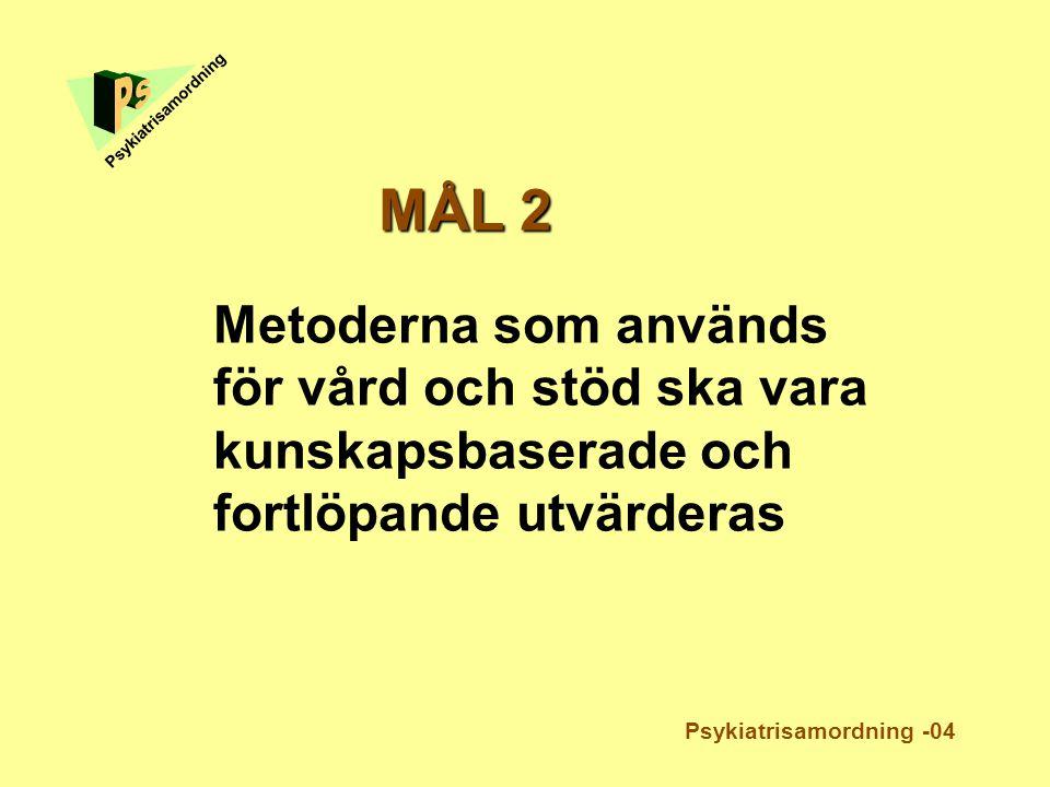 Metoderna som används för vård och stöd ska vara kunskapsbaserade och fortlöpande utvärderas Psykiatrisamordning MÅL 2 Psykiatrisamordning -04