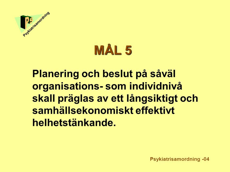 Planering och beslut på såväl organisations- som individnivå skall präglas av ett långsiktigt och samhällsekonomiskt effektivt helhetstänkande. Psykia
