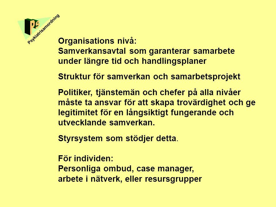 Organisations nivå: Samverkansavtal som garanterar samarbete under längre tid och handlingsplaner Struktur för samverkan och samarbetsprojekt Politike