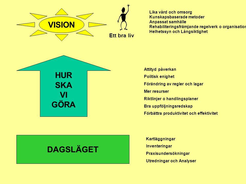 DAGSLÄGET VISION HUR SKA VI GÖRA Lika vård och omsorg Kunskapsbaserade metoder Anpassat samhälle Rehabiliteringsfrämjande regelverk o organisation Hel