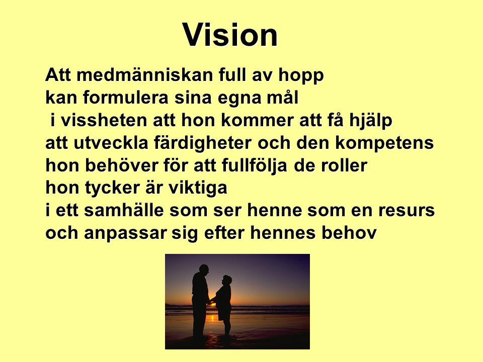 Vision Att medmänniskan full av hopp kan formulera sina egna mål i vissheten att hon kommer att få hjälp i vissheten att hon kommer att få hjälp att u