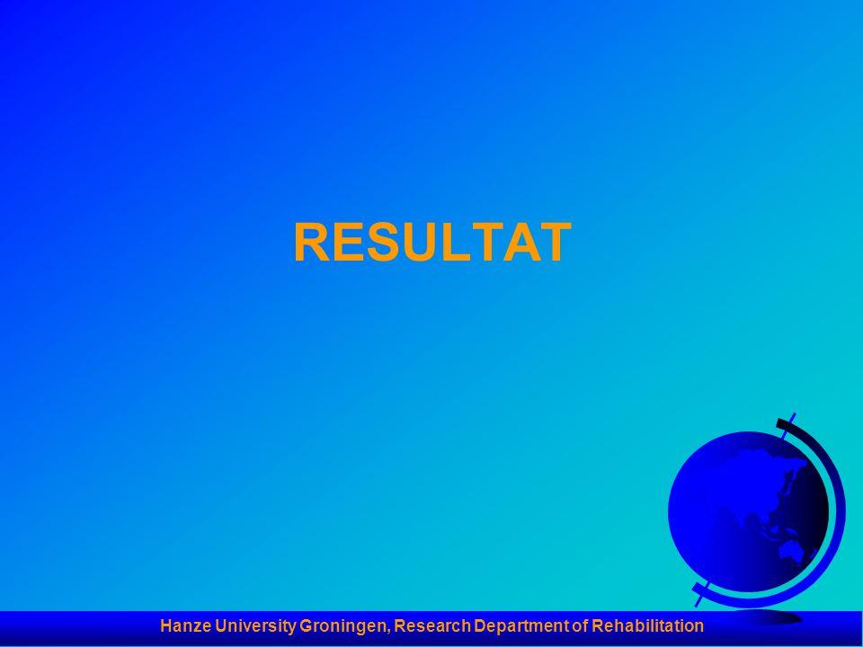 Hanze University Groningen, Research Department of Rehabilitation RESULTAT