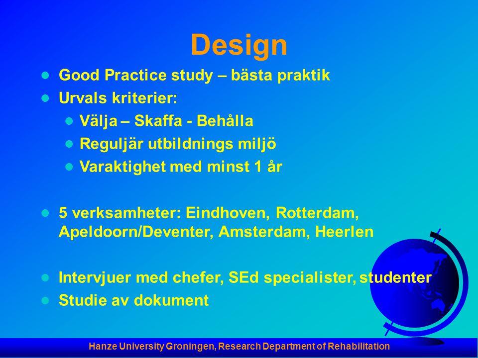 Hanze University Groningen, Research Department of Rehabilitation Design  Good Practice study – bästa praktik  Urvals kriterier:  Välja – Skaffa -