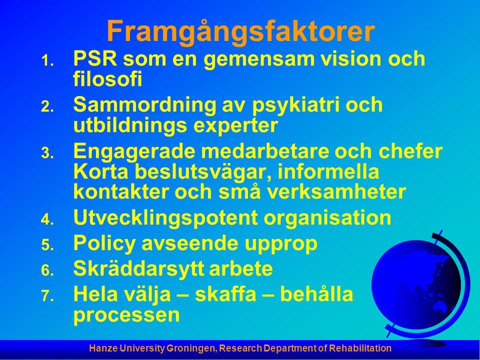 Hanze University Groningen, Research Department of Rehabilitation Framgångsfaktorer 1. PSR som en gemensam vision och filosofi 2. Sammordning av psyki