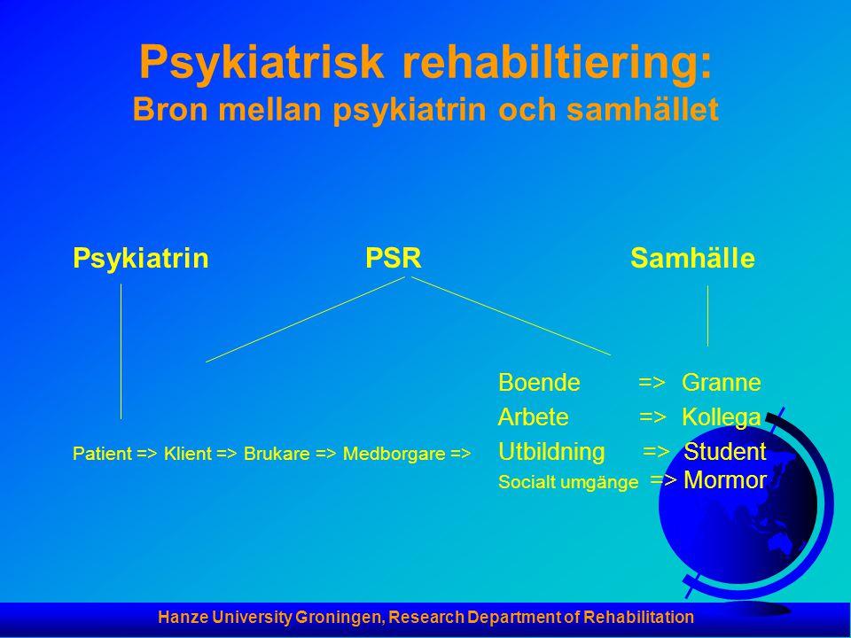 Hanze University Groningen, Research Department of Rehabilitation Psykiatrisk rehabiltiering: Bron mellan psykiatrin och samhället Psykiatrin PSR Samhälle Boende => Granne Arbete => Kollega Patient => Klient => Brukare => Medborgare => Utbildning => Student Socialt umgänge => Mormor