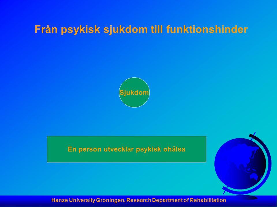 Hanze University Groningen, Research Department of Rehabilitation Från psykisk sjukdom till funktionshinder Sjukdom En person utvecklar psykisk ohälsa