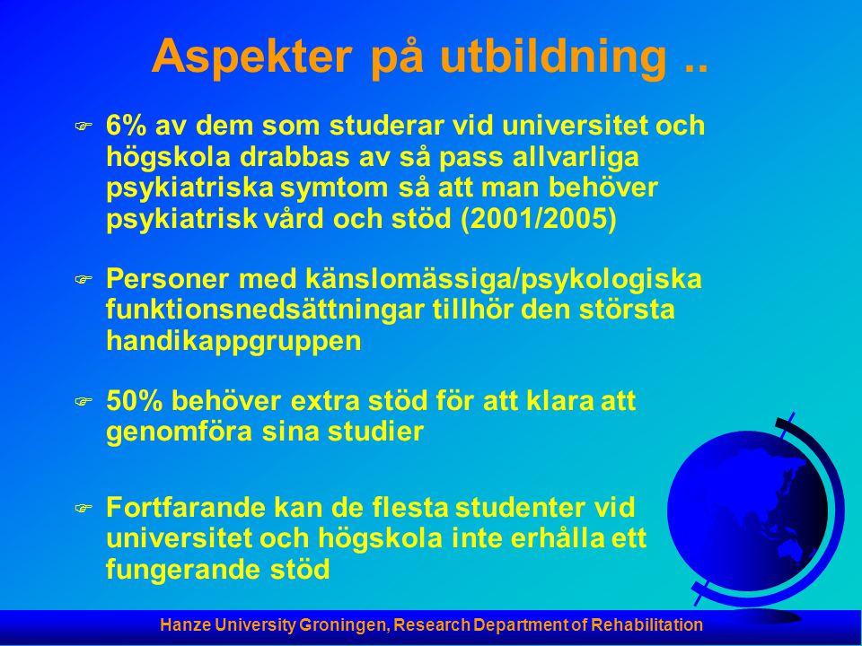 Hanze University Groningen, Research Department of Rehabilitation Aspekter på utbildning.. F 6% av dem som studerar vid universitet och högskola drabb