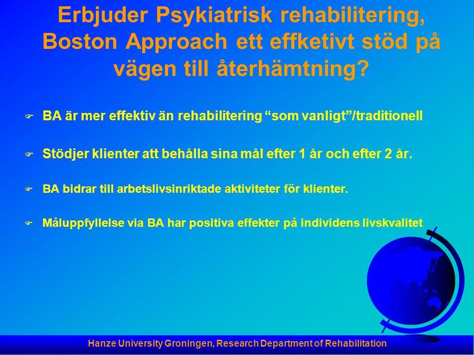 Hanze University Groningen, Research Department of Rehabilitation Erbjuder Psykiatrisk rehabilitering, Boston Approach ett effketivt stöd på vägen til