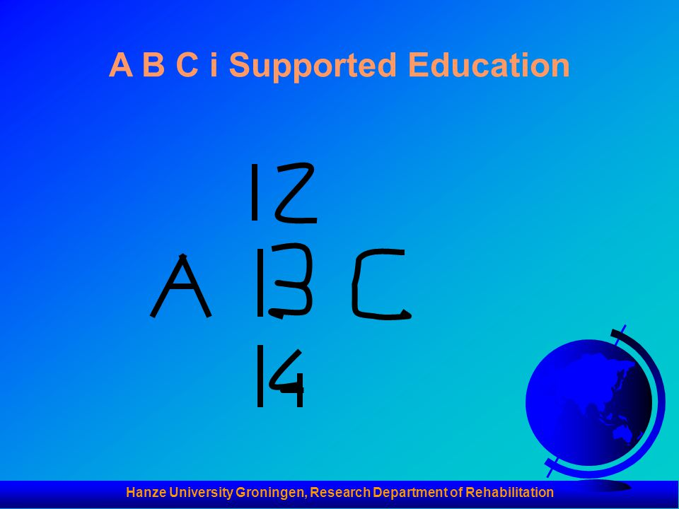 Hanze University Groningen, Research Department of Rehabilitation A B C i Supported Education