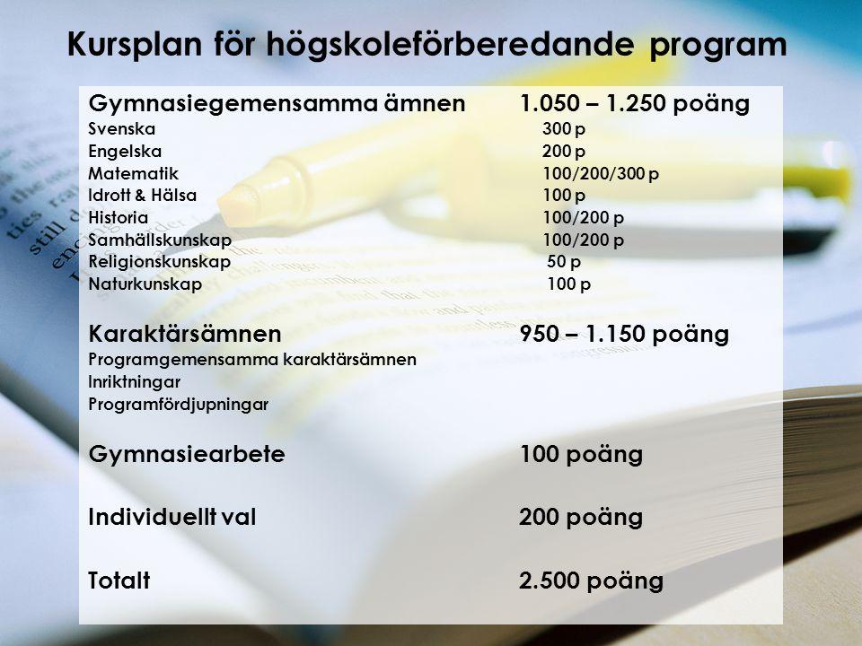 Kursplan för högskoleförberedande program Gymnasiegemensamma ämnen1.050 – 1.250 poäng Svenska 300 p Engelska 200 p Matematik 100/200/300 p Idrott & Hä