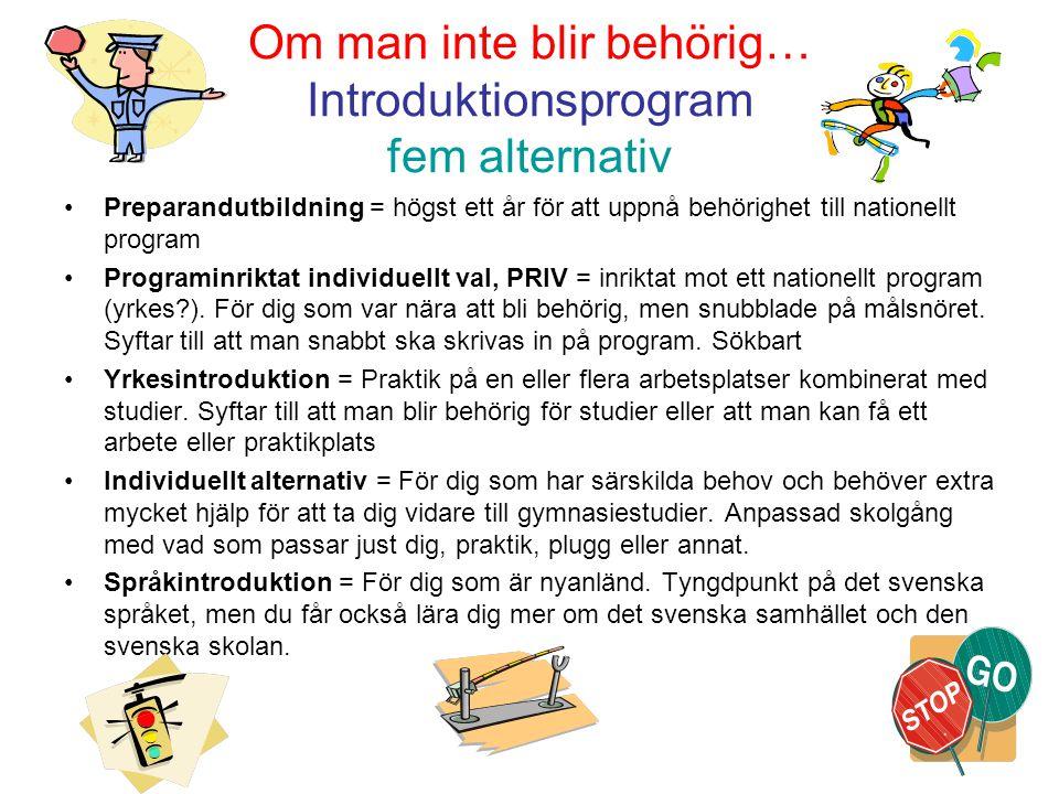 Om man inte blir behörig… Introduktionsprogram fem alternativ •Preparandutbildning = högst ett år för att uppnå behörighet till nationellt program •Pr