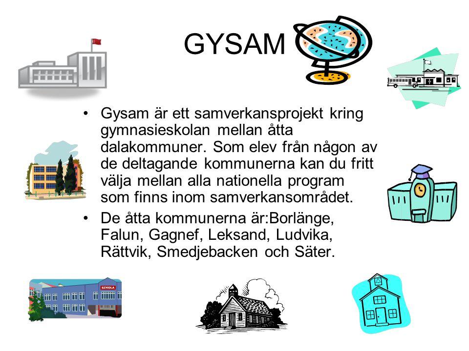 GYSAM •Gysam är ett samverkansprojekt kring gymnasieskolan mellan åtta dalakommuner. Som elev från någon av de deltagande kommunerna kan du fritt välj