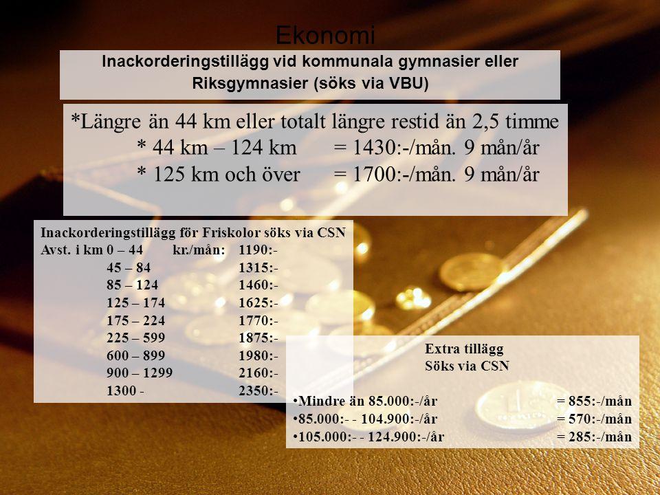Ekonomi Inackorderingstillägg vid kommunala gymnasier eller Riksgymnasier (söks via VBU) *Längre än 44 km eller totalt längre restid än 2,5 timme * 44