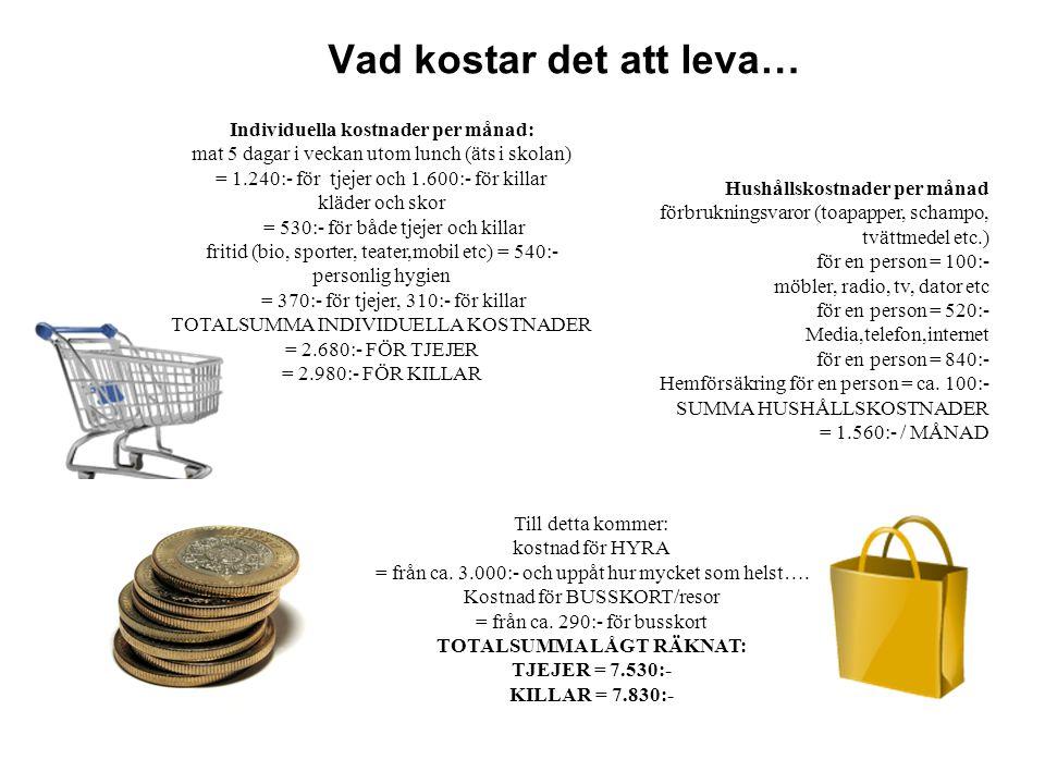 Vad kostar det att leva… Hushållskostnader per månad förbrukningsvaror (toapapper, schampo, tvättmedel etc.) för en person = 100:- möbler, radio, tv,
