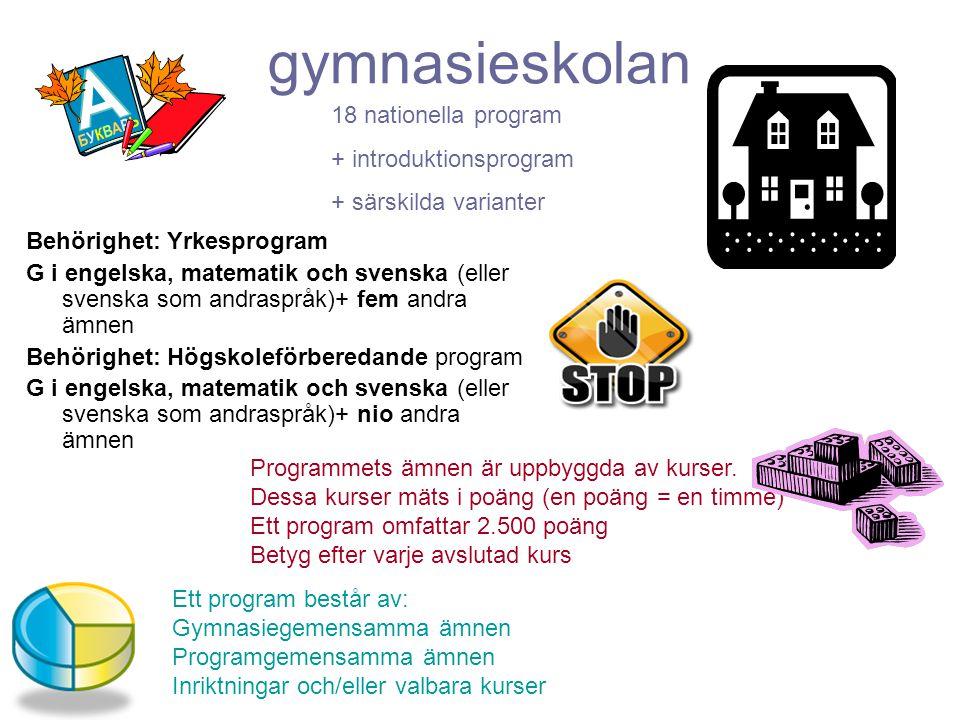 Betygskrav till gymnasiet VG – MVG i alla ämnen = I stort sett bestämma själv Flest G, några VG = kunna komma in på De flesta programmen G i engelska, matte och svenska +fem andra = ta det som blir över