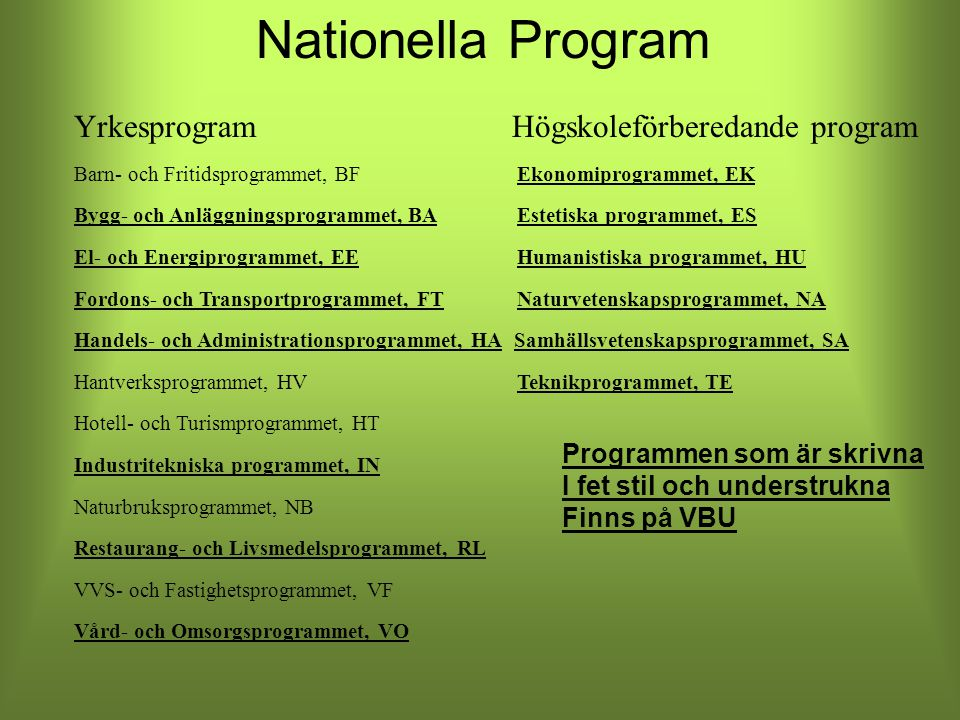 Nationella Program Yrkesprogram Högskoleförberedande program Barn- och Fritidsprogrammet, BF Ekonomiprogrammet, EK Bygg- och Anläggningsprogrammet, BA