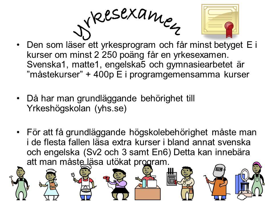 •Den som läser ett yrkesprogram och får minst betyget E i kurser om minst 2 250 poäng får en yrkesexamen. Svenska1, matte1, engelska5 och gymnasiearbe