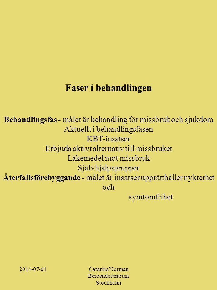 2014-07-01Catarina Norman Beroendecentrum Stockholm Faser i behandlingen Behandlingsfas - målet är behandling för missbruk och sjukdom Aktuellt i behandlingsfasen KBT-insatser Erbjuda aktivt alternativ till missbruket Läkemedel mot missbruk Självhjälpsgrupper Återfallsförebyggande - målet är insatser upprätthåller nykterhet och symtomfrihet