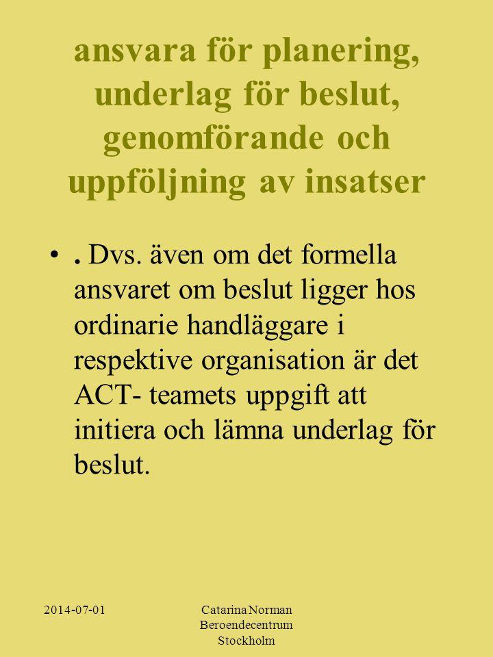 2014-07-01Catarina Norman Beroendecentrum Stockholm ansvara för planering, underlag för beslut, genomförande och uppföljning av insatser •.