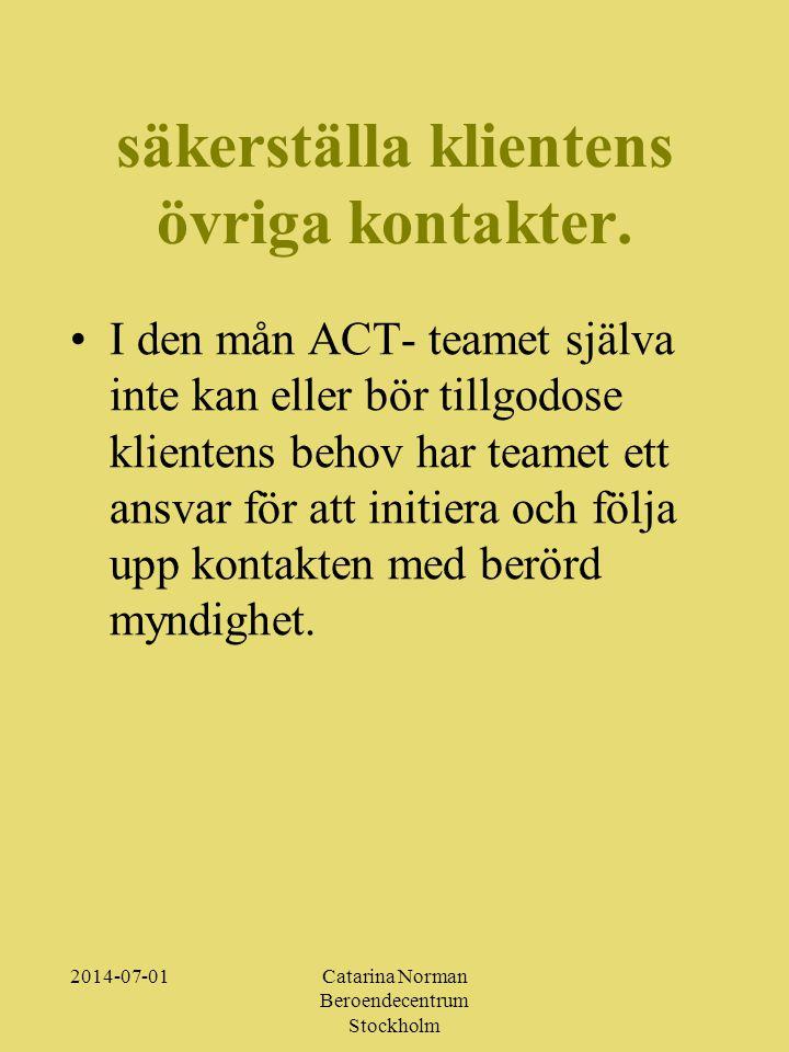 2014-07-01Catarina Norman Beroendecentrum Stockholm säkerställa klientens övriga kontakter.