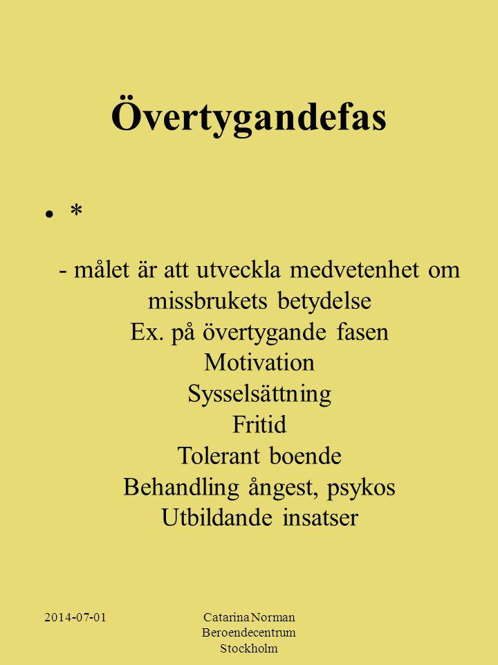 2014-07-01Catarina Norman Beroendecentrum Stockholm Övertygandefas •*•* - målet är att utveckla medvetenhet om missbrukets betydelse Ex.