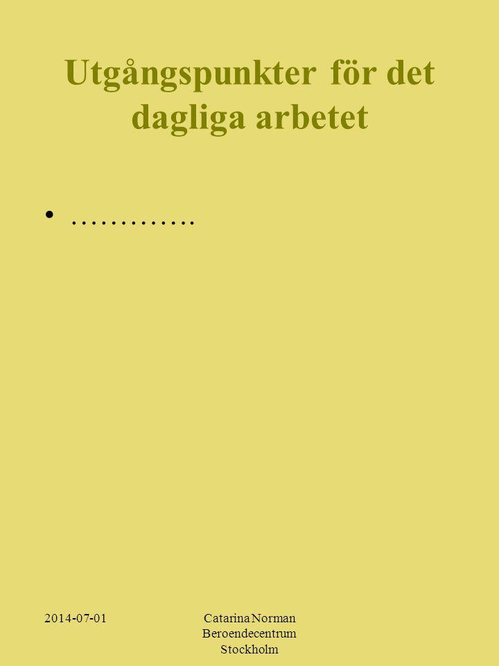 2014-07-01Catarina Norman Beroendecentrum Stockholm Utgångspunkter för det dagliga arbetet •………….