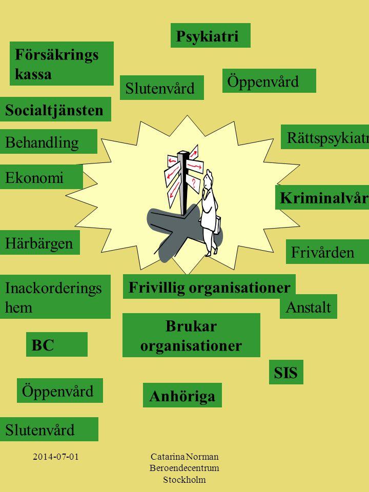 2014-07-01Catarina Norman Beroendecentrum Stockholm Kursinnehåll: •Målgruppens specifika problem •Omvårdnads-och behandlingsteorier •Introduktion till vetenskapsteori •Människosyn, etik och principer för bemötande •Samverkan socialtjänstoch psykiatri – lagstiftning och organisatoriska förutsättningar •Perspektiv på missbruk och behandling •Dokumentation