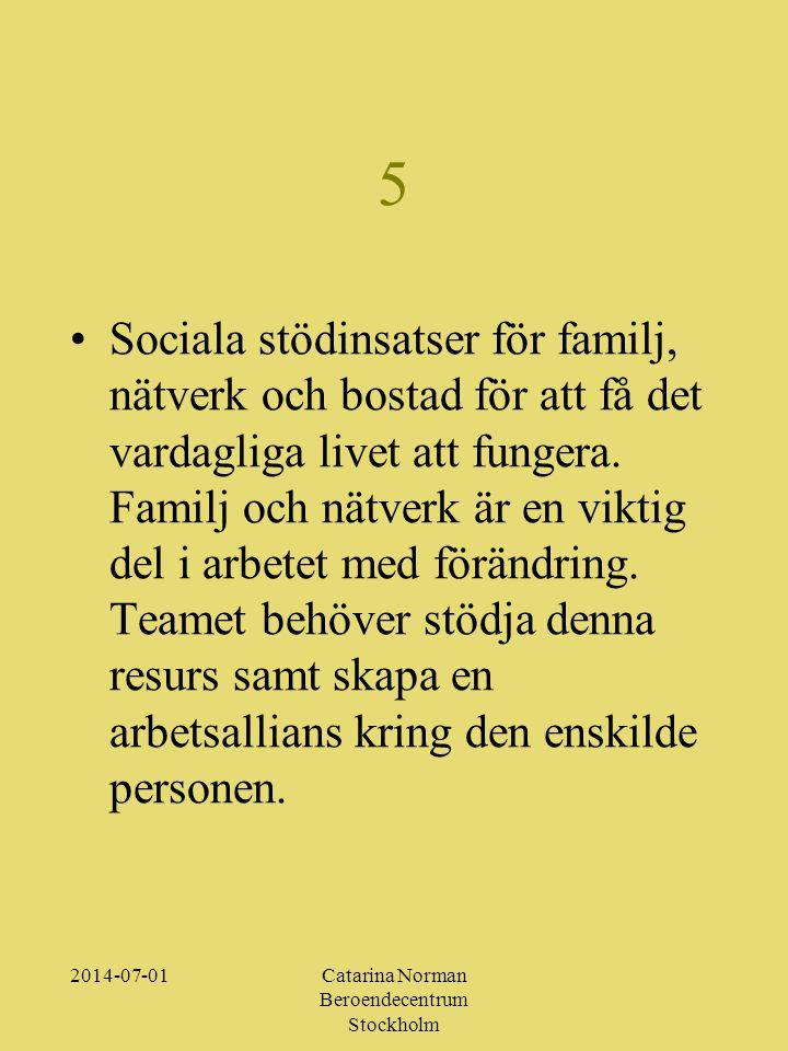 2014-07-01Catarina Norman Beroendecentrum Stockholm 5 •Sociala stödinsatser för familj, nätverk och bostad för att få det vardagliga livet att fungera.