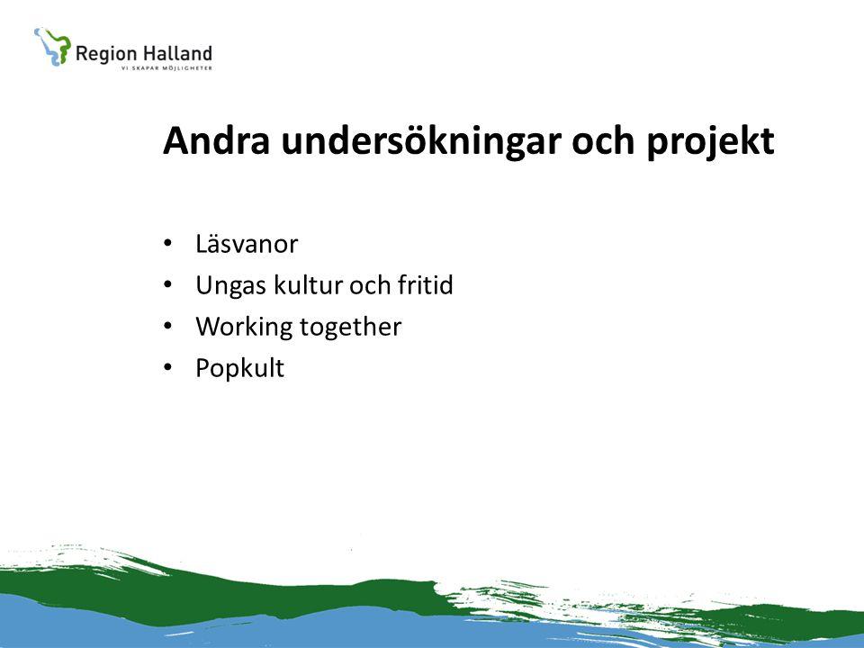 Andra undersökningar och projekt • Läsvanor • Ungas kultur och fritid • Working together • Popkult