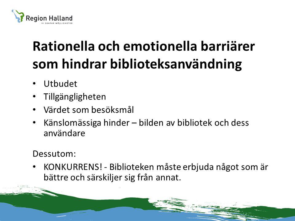 Rationella och emotionella barriärer som hindrar biblioteksanvändning • Utbudet • Tillgängligheten • Värdet som besöksmål • Känslomässiga hinder – bil
