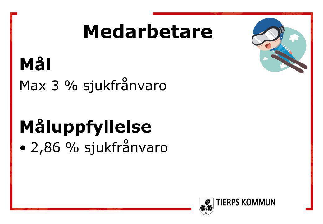 Mål Max 3 % sjukfrånvaro Måluppfyllelse •2,86 % sjukfrånvaro Medarbetare