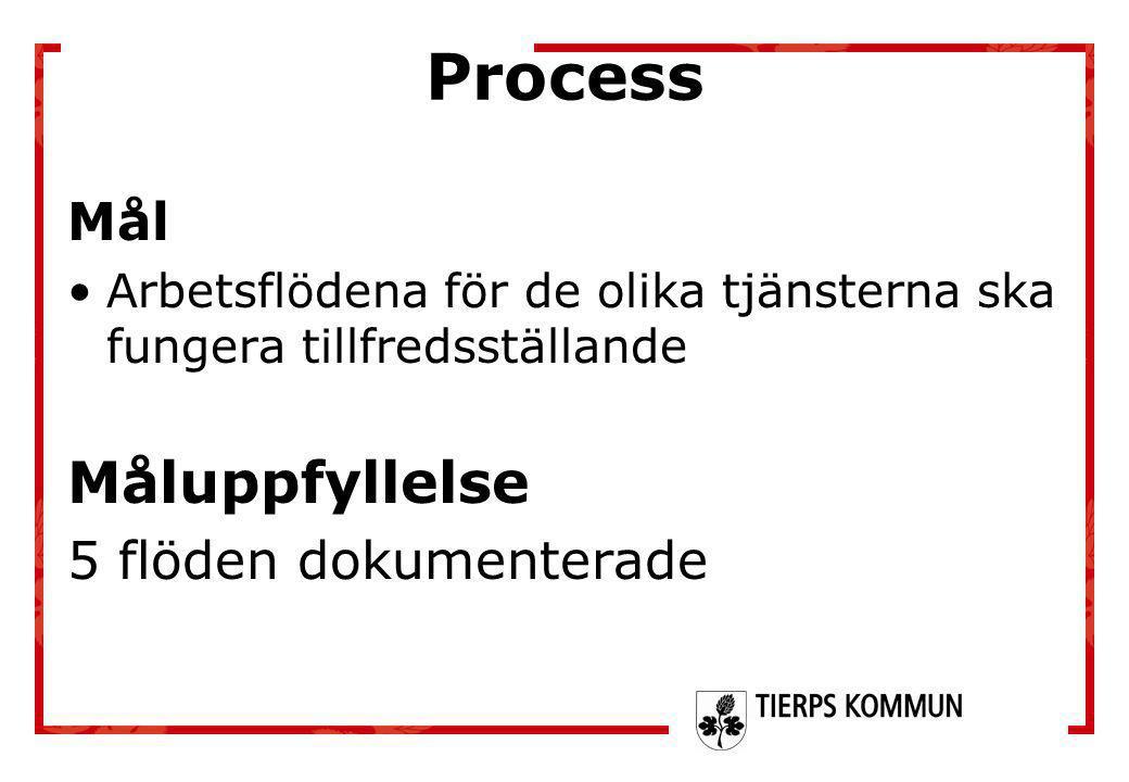 Process Mål •Arbetsflödena för de olika tjänsterna ska fungera tillfredsställande Måluppfyllelse 5 flöden dokumenterade