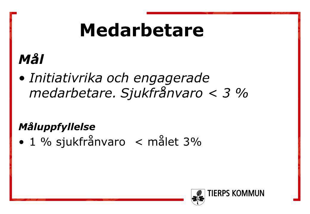 Mål •Initiativrika och engagerade medarbetare. Sjukfrånvaro < 3 % Måluppfyllelse •1 % sjukfrånvaro < målet 3% Medarbetare
