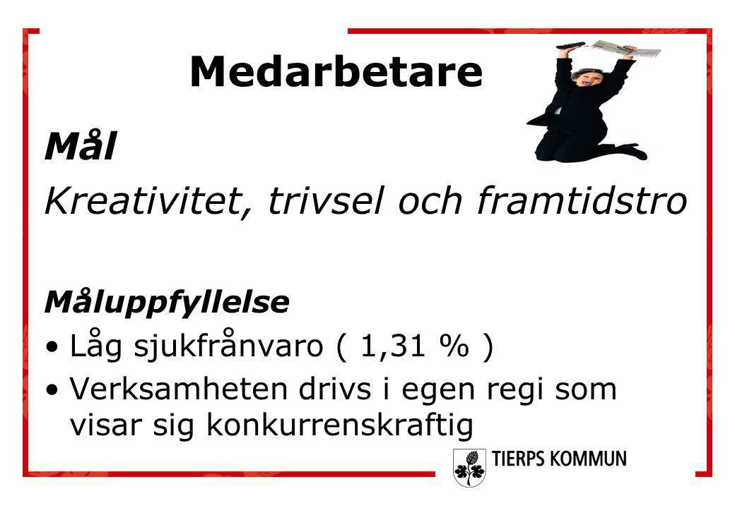 Mål Kreativitet, trivsel och framtidstro Måluppfyllelse •Låg sjukfrånvaro ( 1,31 % ) •Verksamheten drivs i egen regi som visar sig konkurrenskraftig M