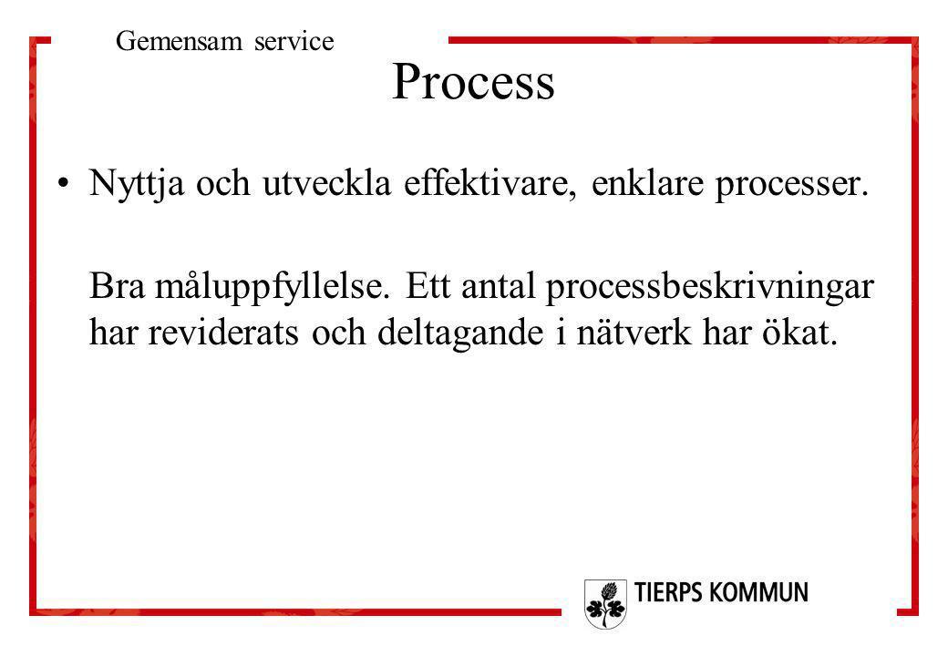 Process •Nyttja och utveckla effektivare, enklare processer. Bra måluppfyllelse. Ett antal processbeskrivningar har reviderats och deltagande i nätver