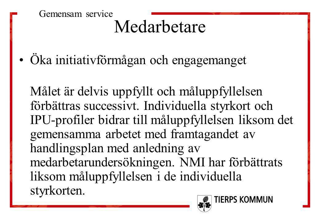 Medarbetare •Öka initiativförmågan och engagemanget Målet är delvis uppfyllt och måluppfyllelsen förbättras successivt. Individuella styrkort och IPU-