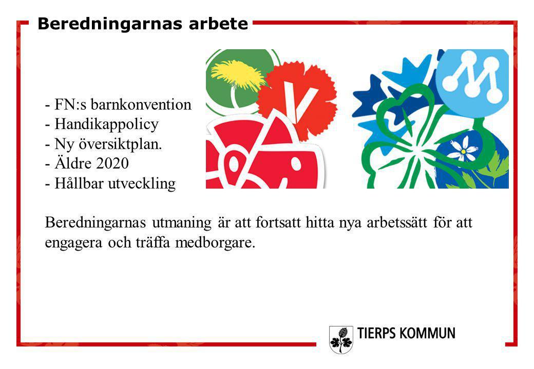 - FN:s barnkonvention - Handikappolicy - Ny översiktplan. - Äldre 2020 - Hållbar utveckling Beredningarnas utmaning är att fortsatt hitta nya arbetssä