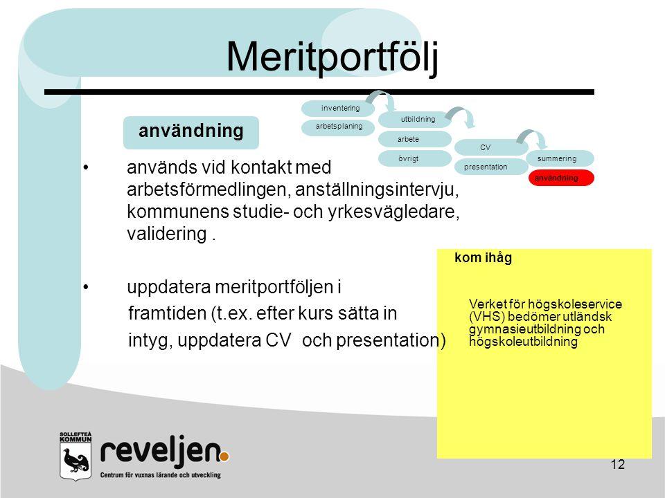 12 Meritportfölj användning arbete CV arbete övrigt CV presentation summering användning inventering arbetsplaning utbildning kom ihåg Verket för högs