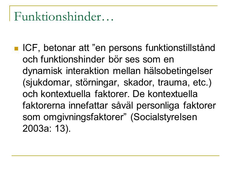 """Funktionshinder…  ICF, betonar att """"en persons funktionstillstånd och funktionshinder bör ses som en dynamisk interaktion mellan hälsobetingelser (sj"""