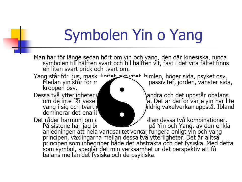 Symbolen Yin o Yang Man har för länge sedan hört om yin och yang, den där kinesiska, runda symbolen till hälften svart och till hälften vit, fast i det vita fältet finns en liten svart prick och tvärt om.