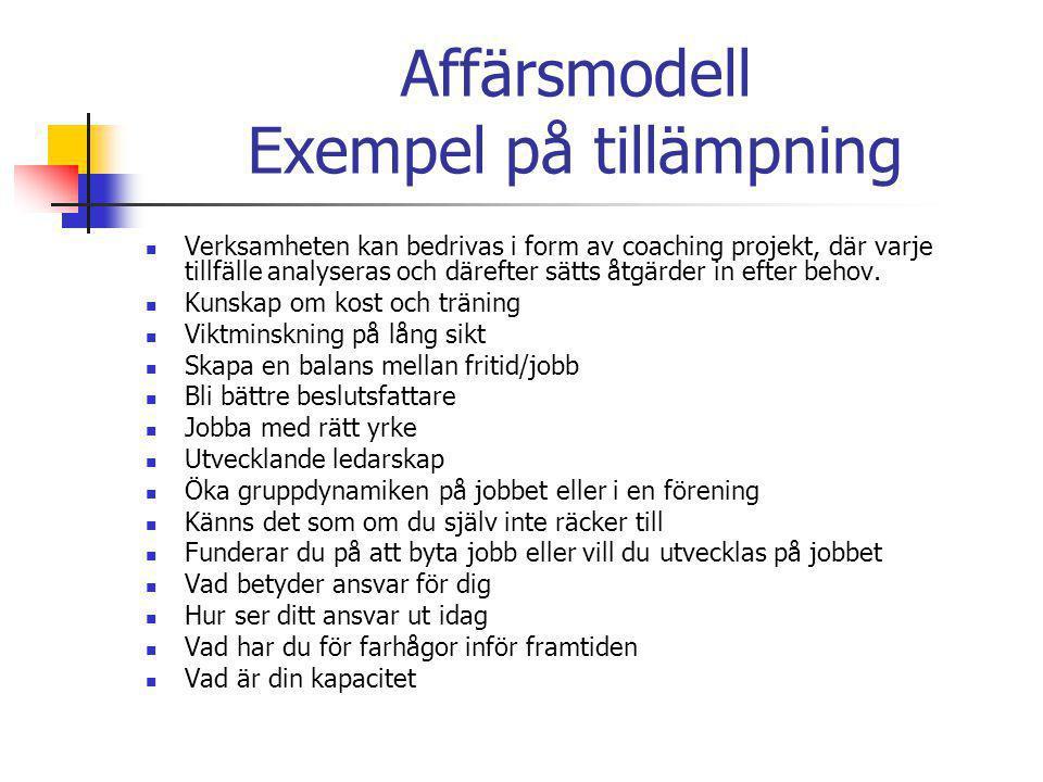 Affärsmodell Exempel på tillämpning  Verksamheten kan bedrivas i form av coaching projekt, där varje tillfälle analyseras och därefter sätts åtgärder in efter behov.
