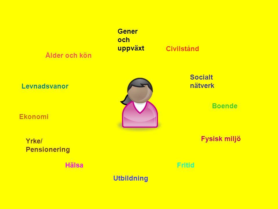 Gener och uppväxt Civilstånd Socialt nätverk Boende Fysisk miljö Fritid Utbildning Hälsa Yrke/ Pensionering Ekonomi Levnadsvanor Ålder och kön