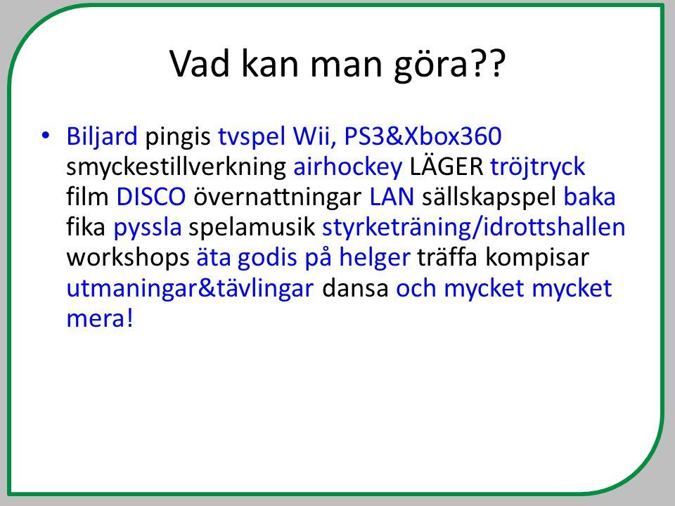 Vad kan man göra?? • Biljard pingis tvspel Wii, PS3&Xbox360 smyckestillverkning airhockey LÄGER tröjtryck film DISCO övernattningar LAN sällskapspel b