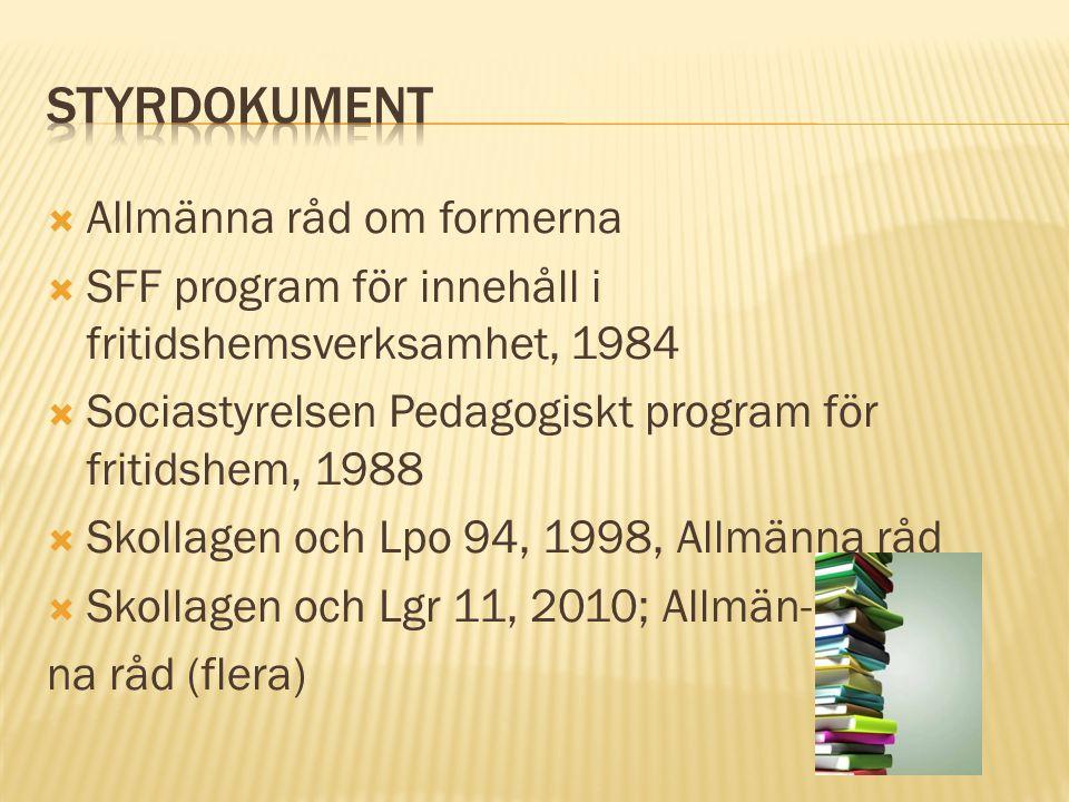  Allmänna råd om formerna  SFF program för innehåll i fritidshemsverksamhet, 1984  Sociastyrelsen Pedagogiskt program för fritidshem, 1988  Skollagen och Lpo 94, 1998, Allmänna råd  Skollagen och Lgr 11, 2010; Allmän- na råd (flera)