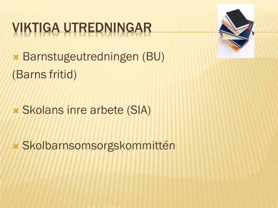  Barnstugeutredningen (BU) (Barns fritid)  Skolans inre arbete (SIA)  Skolbarnsomsorgskommittén